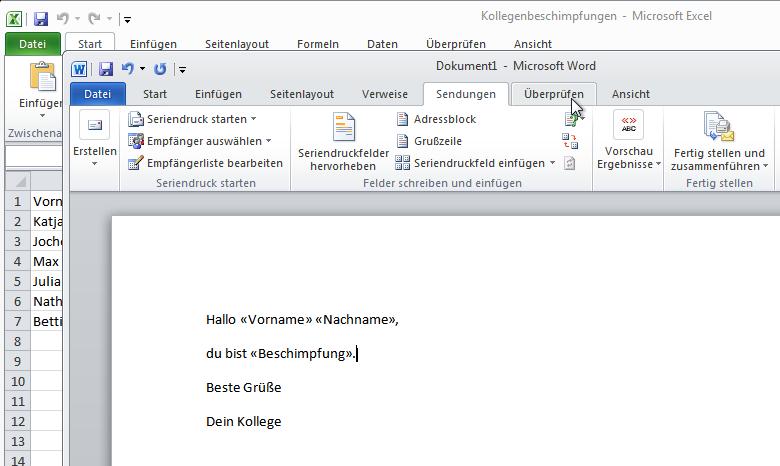 Serienbrief Mit Microsoft Word Und Excel Um Kollegen Zu Beschimpfen